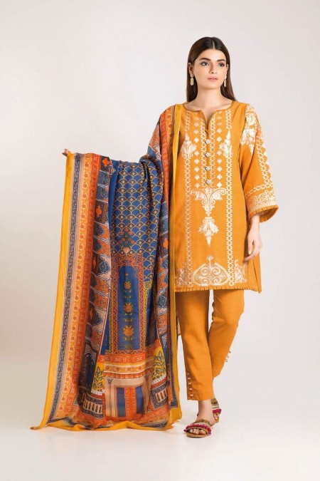 Khaadi Shirt Shalwar Shawl KO19511-Yellow-3Pc