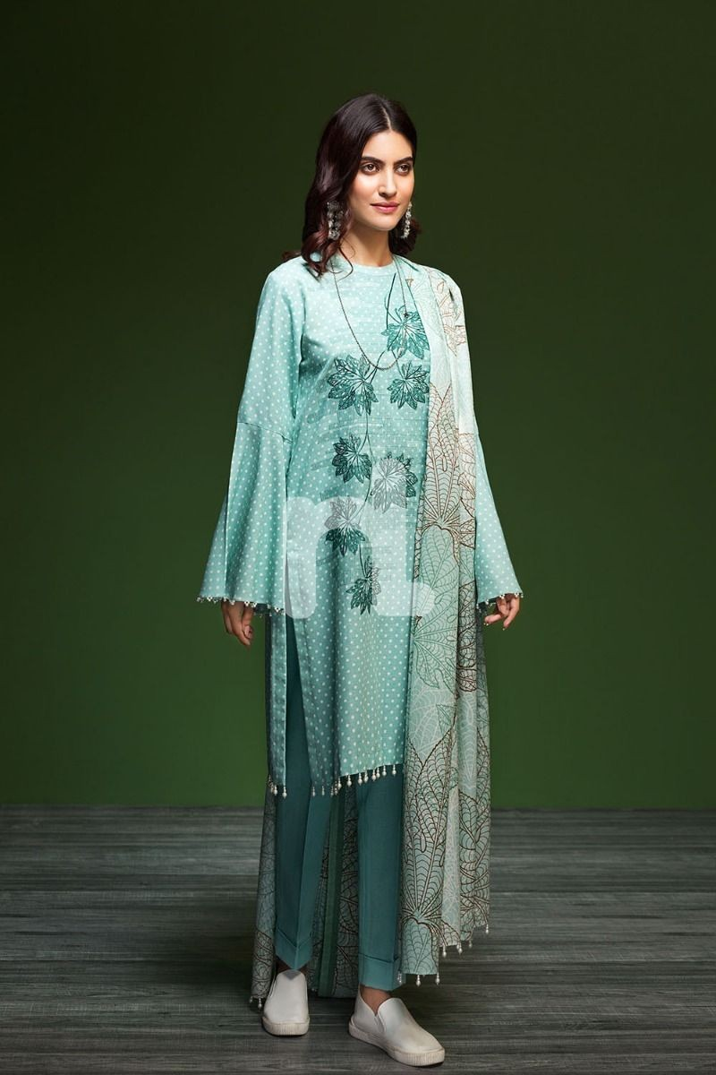 nishat Green khaddar Dress