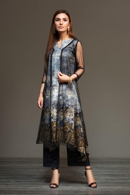 Nishat Linen 41901302 Grey Digital Printed Sateen Shirt Fabric PKR 575 (Per Meter) - 1PC