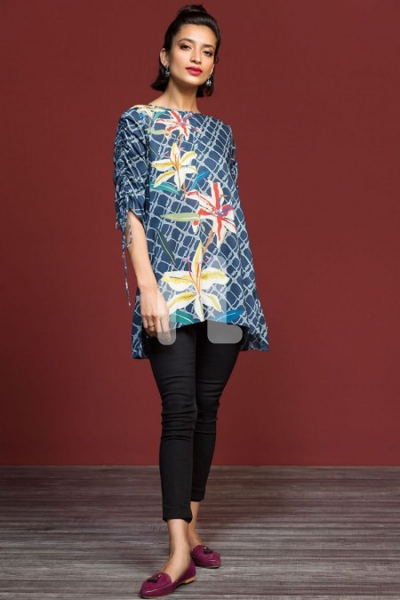 Nishat Linen FW19-08 Blue Printed Stitched Micro Modal Fusion Top - 1PC
