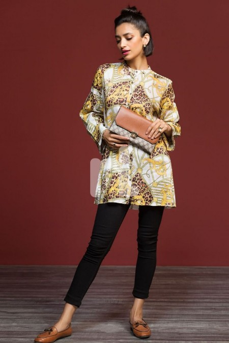 Nishat Linen FW19-09 Yellow Digital Printed Stitched Micro Modal Fusion Top - 1PC