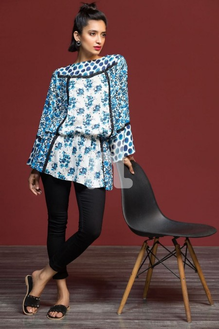 Nishat Linen FW19-10 Blue Digital Printed Stitched Micro Modal Fusion Top - 1PC
