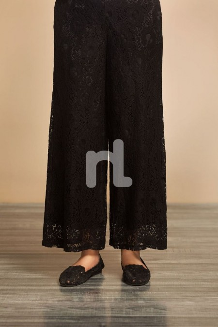 Nishat Linen GG WH- Black Dyed Stitched Lace Net Trouser for Women