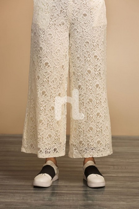 Nishat Linen GG WH- Off White Dyed Stitched Lace Net Trouser for Women