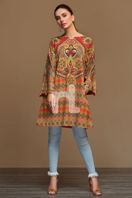 Nishat Linen PW19-10 Brown Digital Printed Stitched Cotton Karandi Shirt - 1PC