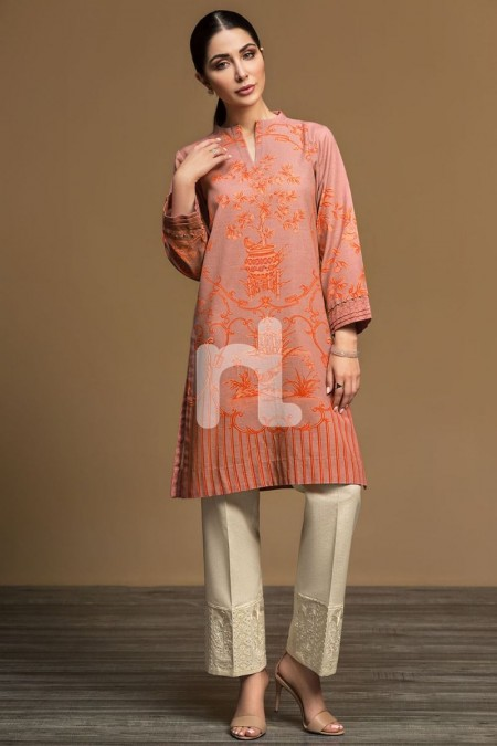 Nishat Linen PW19-32 Pink Digital Printed Stitched Khaddar Shirt - 1PC