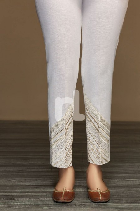 Nishat Linen PW19-33 White Dyed Embroidered Stitched Straight Karandi Trouser for Women