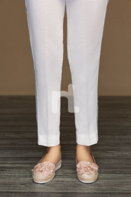 Nishat Linen PW19-44 White Dyed Stitched Straight Karandi Trouser For Women