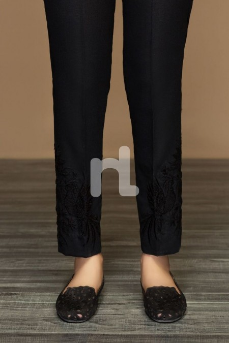Nishat Linen PW19-47 Black Dyed Embroidered Stitched Straight Karandi Trouser For Women