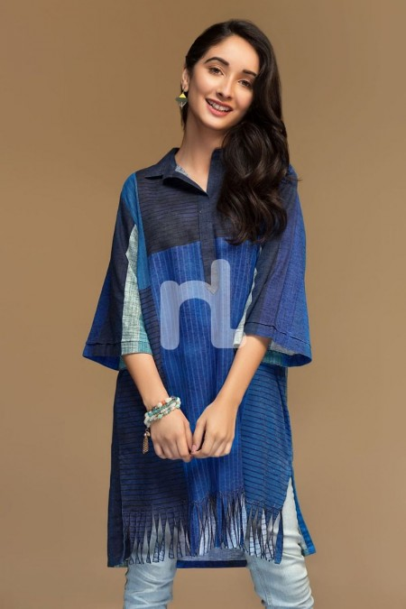 Nishat Linen PW19-52 Blue Digital Printed Stitched Cotton Karandi Shirt - 1PC