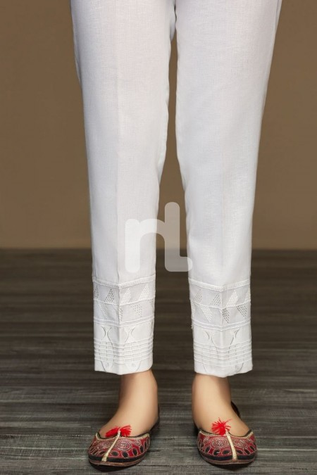 Nishat Linen PW19-64 Off White Dyed Embroidered Stitched Straight Karandi Trouser For Women