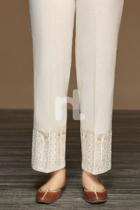 Nishat Linen PW19-66 Beige Dyed Embroidered Stitched Loose Straight Karandi Trouser For Women