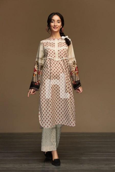 Nishat Linen PW19-97 Beige Printed Stitched Karandi Shirt - 1PC