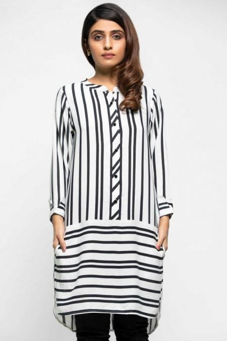 Zeen Woman Printed Strip Shirt