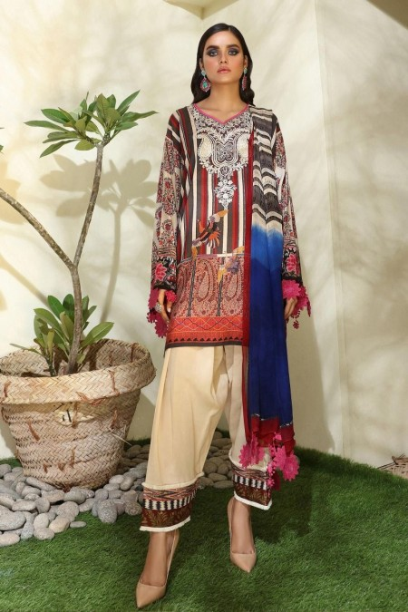 Sana Safinaz M194-001A-CI - Muzlin Winter19 - Unstitched Fabric
