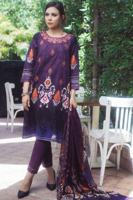 Zeen Woman Stitch 3 PC Self Jacquard & Digital Printed Tissue Silk