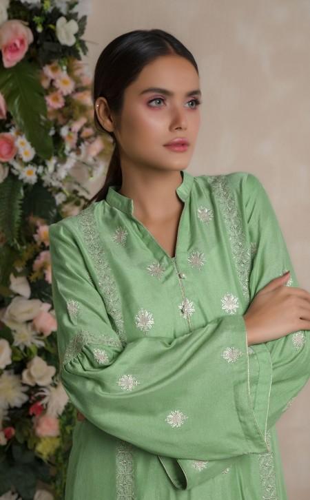 Zellbury Shirt Dupatta - Amulet Green - KarandiZWUWCE219490