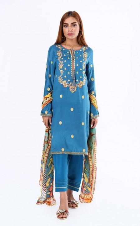 Zellbury Shirt Dupatta - Curious Blue - KarandiZWUWCE219491
