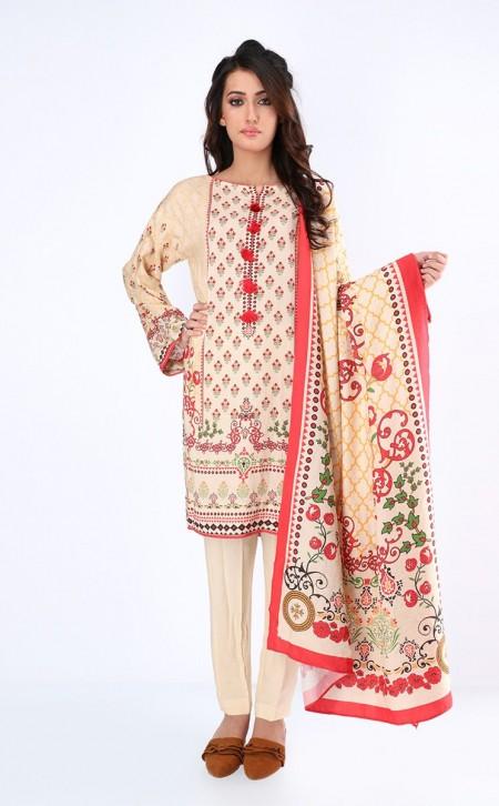 Zellbury Shirt Shalwar Dupatta - Almond Brown - ViscoseZWUWC319511