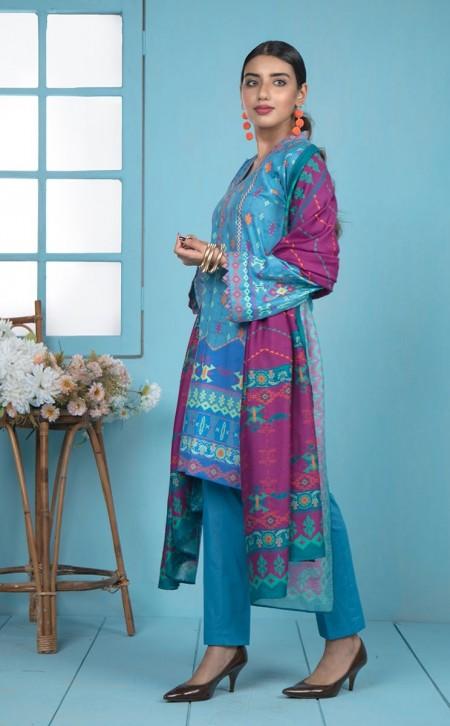 Zellbury Shirt Shalwar Dupatta - Astral Blue - JacquardZWUWC319520