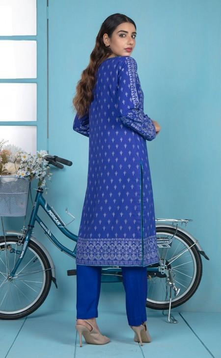 Zellbury Shirt Shalwar Dupatta - Blue Marguerite Violet - ViscoseZWUWCE319530