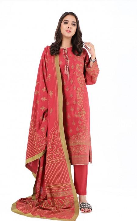 Zellbury Shirt Shalwar Dupatta - Brick Red - Viscose PastedZWUWC319533