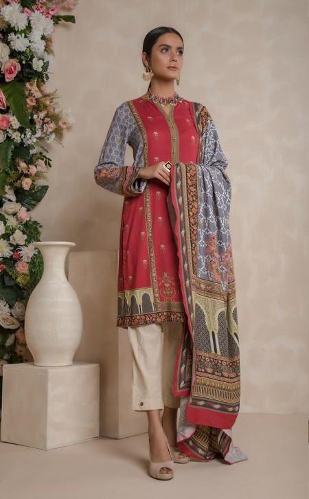 Zellbury Shirt Shalwar Dupatta - Brick Red - ViscoseZWUWC319510