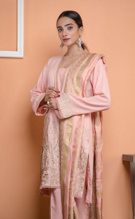 Zellbury Shirt Shalwar Dupatta - Cavern Pink - JacquardZWUWCE319542