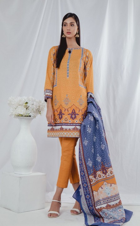 Zellbury Shirt Shalwar Dupatta - Chardonnay Orange - KhaddarZWUWC319503
