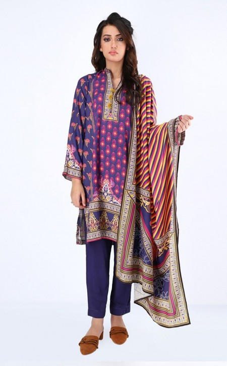 Zellbury Shirt Shalwar Dupatta - Cherry Pie - ViscoseZWUWC319512