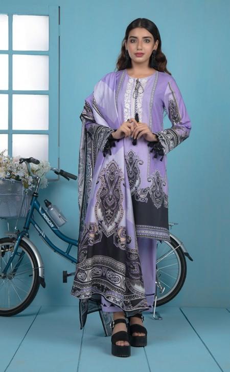 Zellbury Shirt Shalwar Dupatta - Deluge Violet - JacquardZWUWCE319535