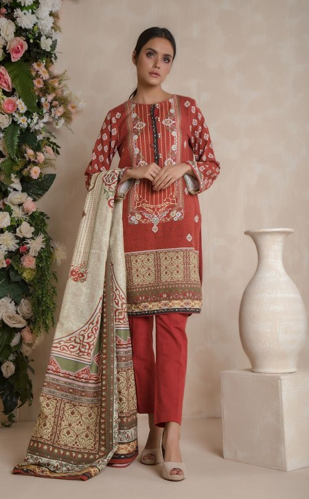 Zellbury Shirt Shalwar Dupatta - Grenadier Red - KhaddarZWUWCE319527