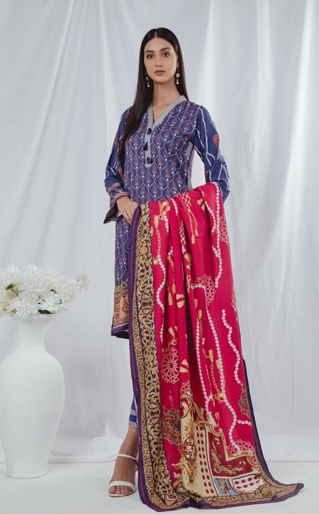 Zellbury Shirt Shalwar Dupatta - Kimberly Violet - ViscoseZWUWC319508