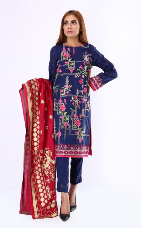 Zellbury Shirt Shalwar Dupatta - Paua Blue - JacquardZWUWCE319541