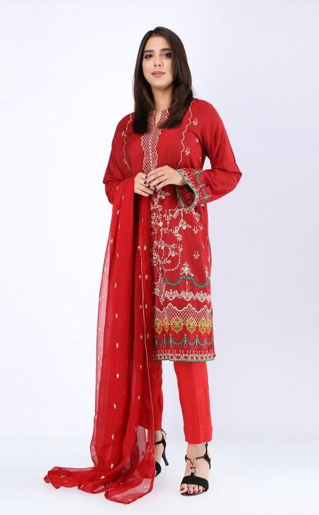 Zellbury Shirt Shalwar Dupatta - Persian Red - KarandiZWUWCE319538