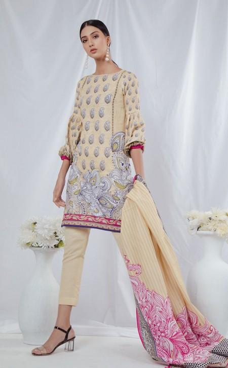 Zellbury Shirt Shalwar Dupatta - Spanish White - KhaddarZWUWC319497