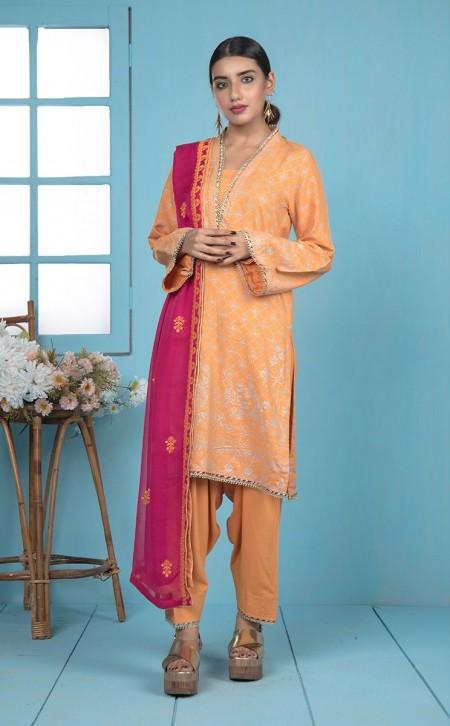 Zellbury Shirt Shalwar Dupatta - Tacao Orange - ViscoseZWUWCE319531