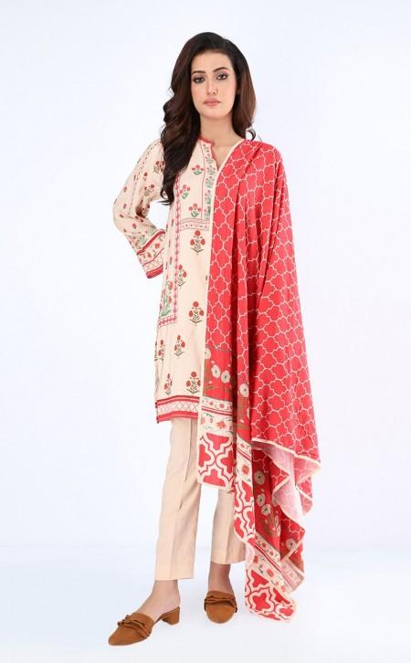 Zellbury Shirt Shalwar Dupatta - Wafer Brown - ViscoseZWUWC319518