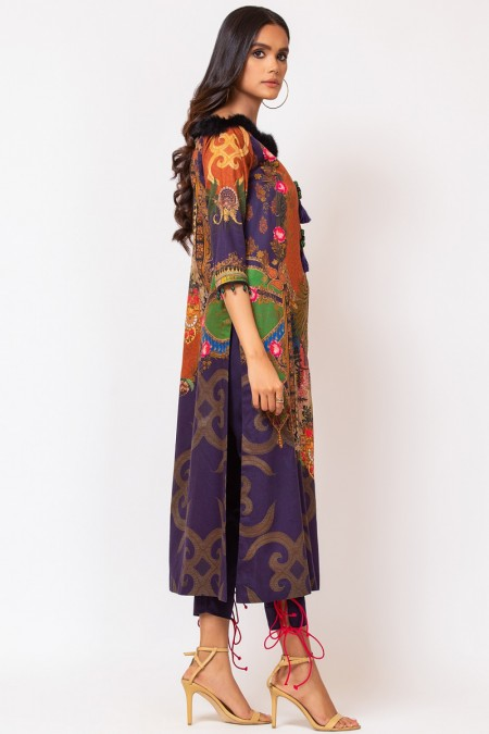 Alkaram Studio 2 Piece Embroidered Suit with Dyed Cotton Satin Trouser FW-D3-19-2-Multi Color