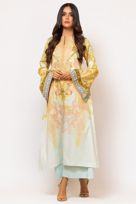 Alkaram Studio 2 Piece Embroidered Suit with Dyed Cotton Satin Trouser FW-D4-19-2-Multi Color
