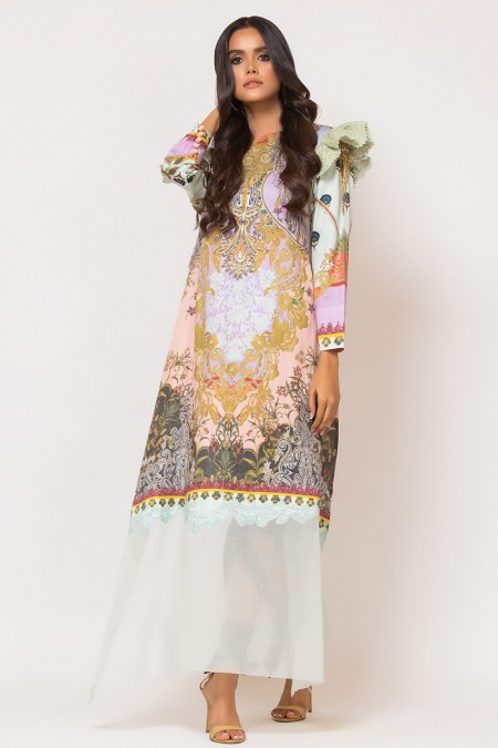 Alkaram Studio 2 Piece Embroidered Suit with Dyed Cotton Satin Trouser FW-D9-19-2-Multi Color