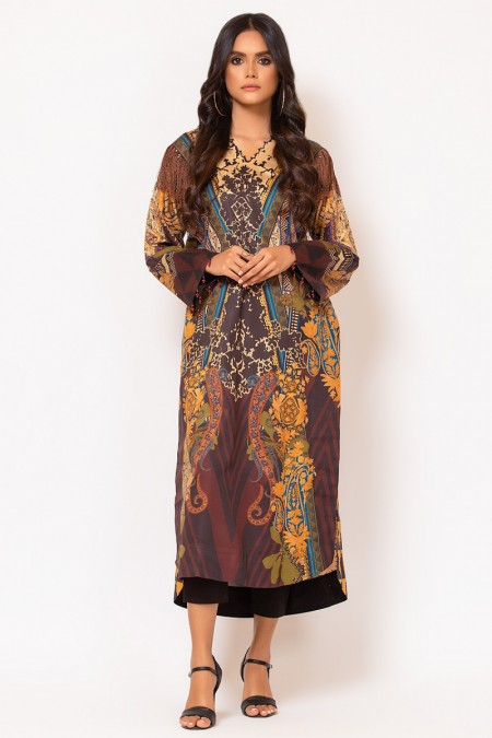 Alkaram Studio 2 Piece Printed Suit with Dyed Cotton Satin Trouser FW-D13-19-2-Multi Color