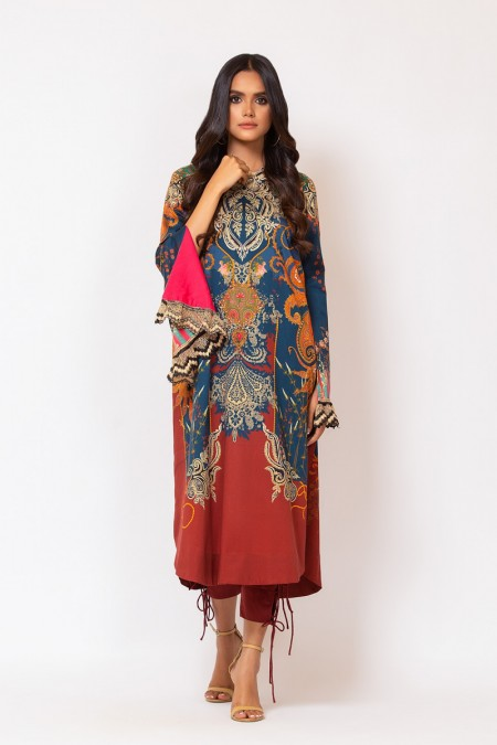 Alkaram Studio 2 Piece Printed Suit with Dyed Cotton Satin Trouser FW-D15-19-2-Multi Color