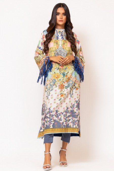 Alkaram Studio 2 Piece Printed Suit with Dyed Cotton Satin Trouser FW-D5-19-2-Multi Color