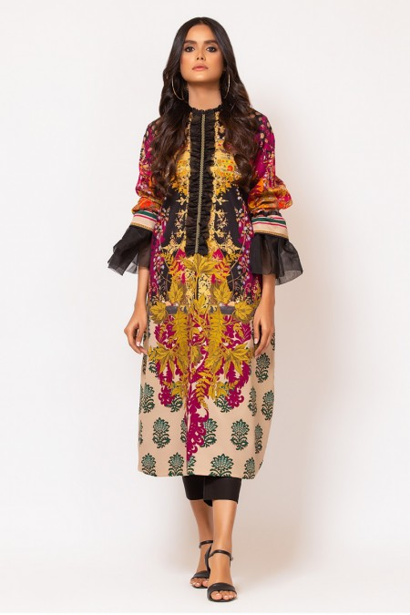 Alkaram Studio 2 Piece Printed Suit with Dyed Cotton Trouser FW-D1-19-2-Multi Color