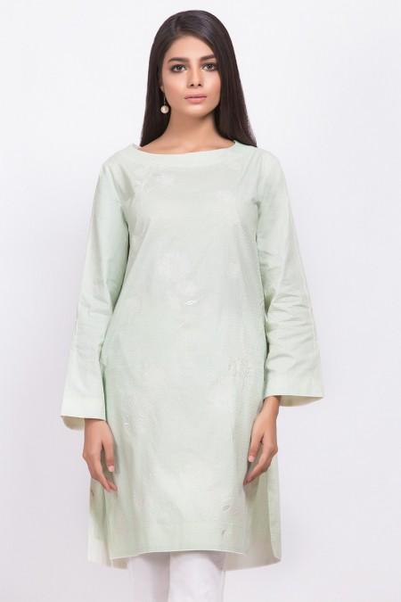 Alkaram Studio Dyed Embroidered Jacquard Kurti GFKU3224-Mint Green