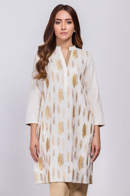 Alkaram Studio Dyed Embroidered Jacquard Kurti GFKU3242-Off White