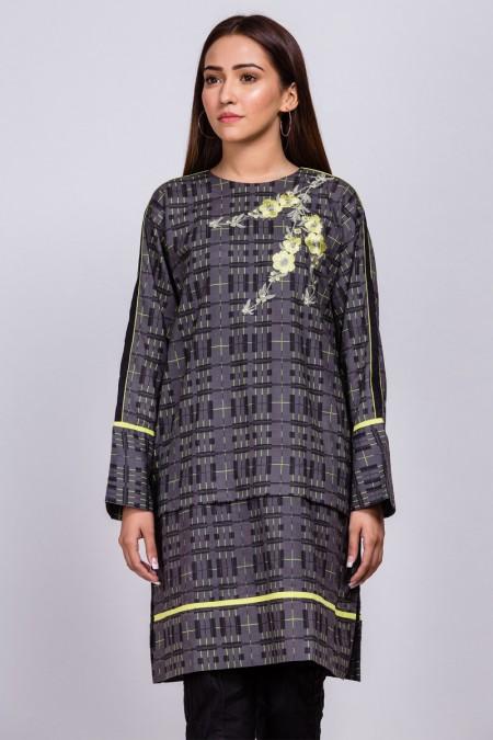 Alkaram Studio Printed Embroidered Cotton Satin Kurti GFKU3195-Multi