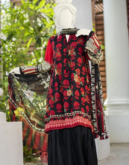 Junaid Jamshed Winter19 Unstitched Collection JLAWN-S-19-0162 Floral Arch