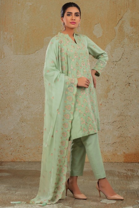 Kayseria 2 Pcs Dyed & Embr SuitShirt, Dup KPN-271